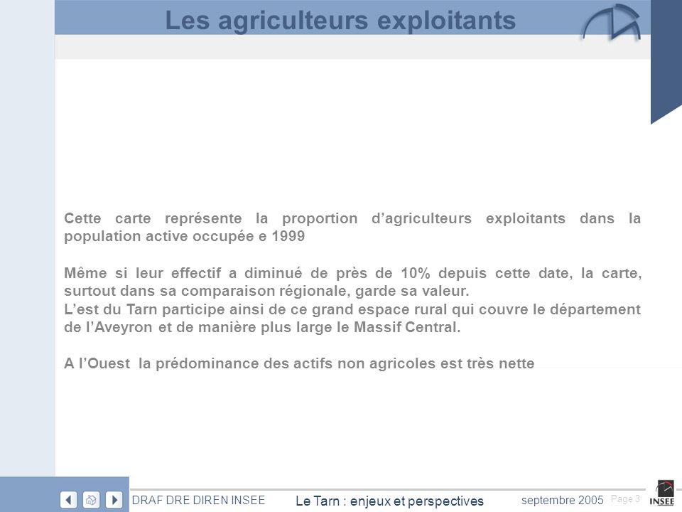 Page 24 Le Tarn : enjeux et perspectives DRAF DRE DIREN INSEEseptembre 2005