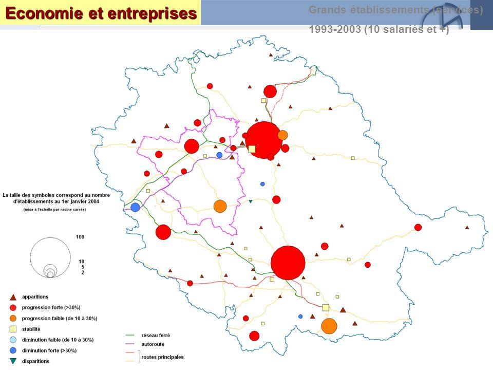 Page 34 Le Tarn : enjeux et perspectives DRAF DRE DIREN INSEEseptembre 2005 Grands établissements (services) 1993-2003 (10 salariés et +) Economie et entreprises