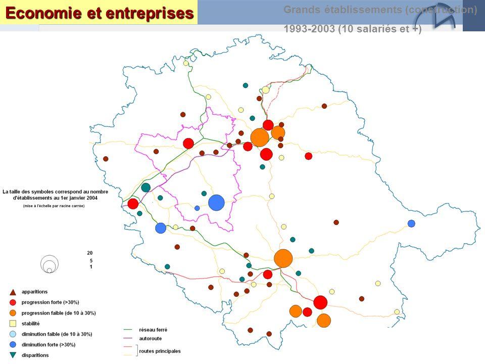 Page 35 Le Tarn : enjeux et perspectives DRAF DRE DIREN INSEEseptembre 2005 Grands établissements (construction) 1993-2003 (10 salariés et +) Economie et entreprises