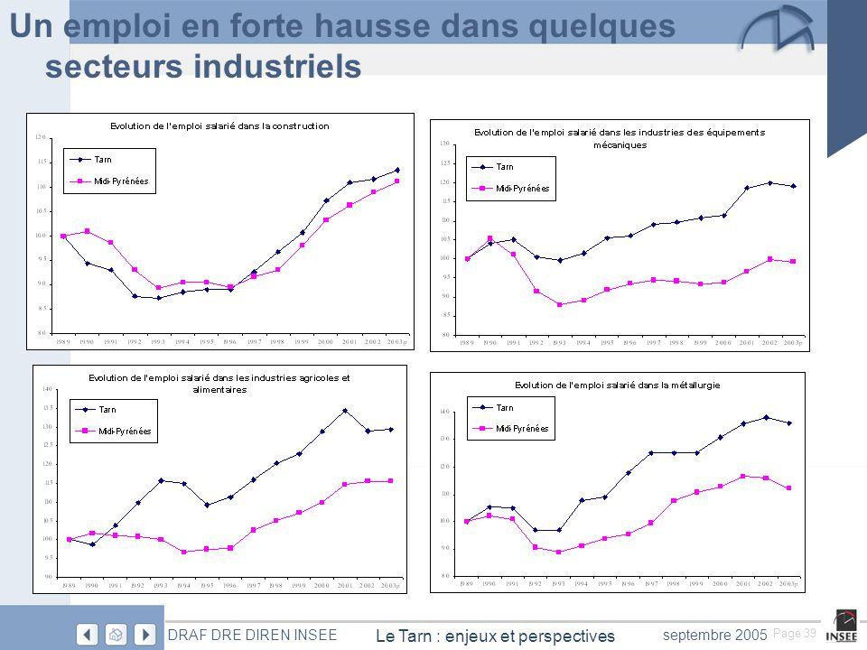 Page 39 Le Tarn : enjeux et perspectives DRAF DRE DIREN INSEEseptembre 2005 Un emploi en forte hausse dans quelques secteurs industriels