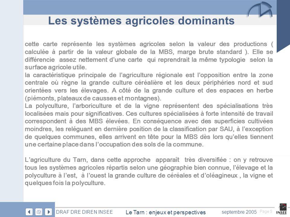 Page 6 Le Tarn : enjeux et perspectives DRAF DRE DIREN INSEEseptembre 2005 Une grande diversité des systèmes agricoles
