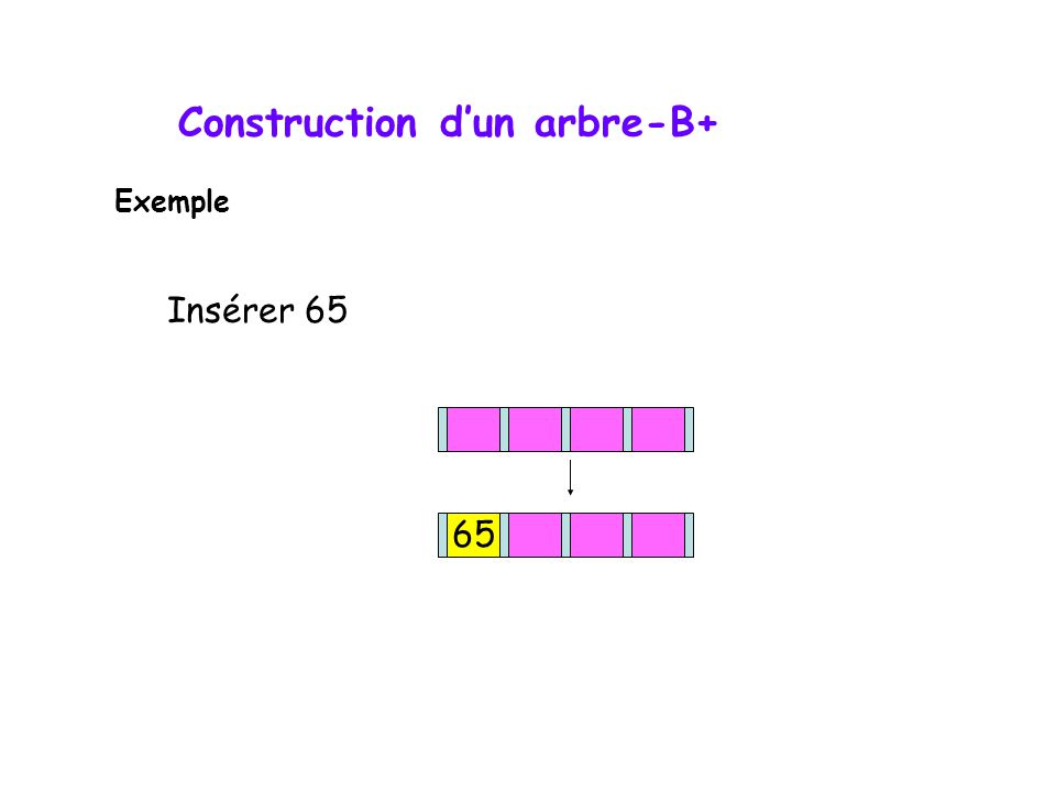 Insérer 65 65 Exemple Construction dun arbre-B+