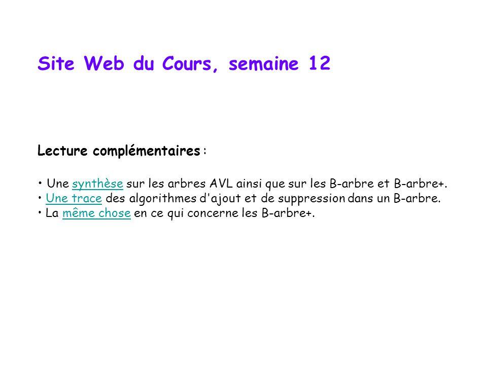 Site Web du Cours, semaine 12 Lecture complémentaires : Une synthèse sur les arbres AVL ainsi que sur les B-arbre et B-arbre+.synthèse Une trace des algorithmes d ajout et de suppression dans un B-arbre.Une trace La même chose en ce qui concerne les B-arbre+.même chose