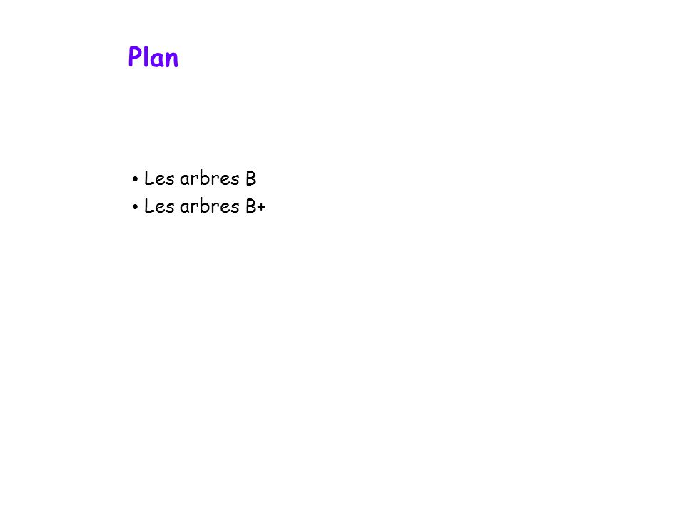 Plan Les arbres B Les arbres B+