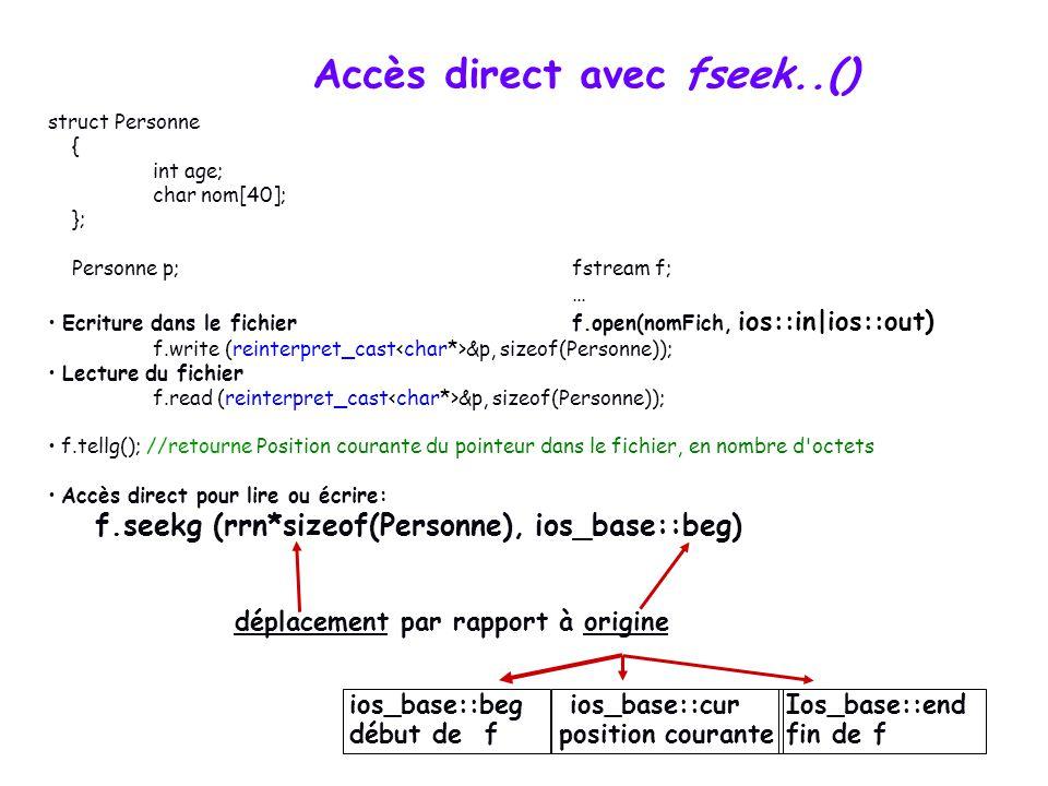 Accès direct avec fseek..() f.seekg (rrn*sizeof(Personne), ios_base::beg) déplacement par rapport à origine ios_base::beg début de f ios_base::cur position courante Ios_base::end fin de f struct Personne { int age; char nom[40]; }; Personne p;fstream f; … Ecriture dans le fichierf.open(nomFich, ios::in|ios::out) f.write (reinterpret_cast &p, sizeof(Personne)); Lecture du fichier f.read (reinterpret_cast &p, sizeof(Personne)); f.tellg(); //retourne Position courante du pointeur dans le fichier, en nombre d octets Accès direct pour lire ou écrire: