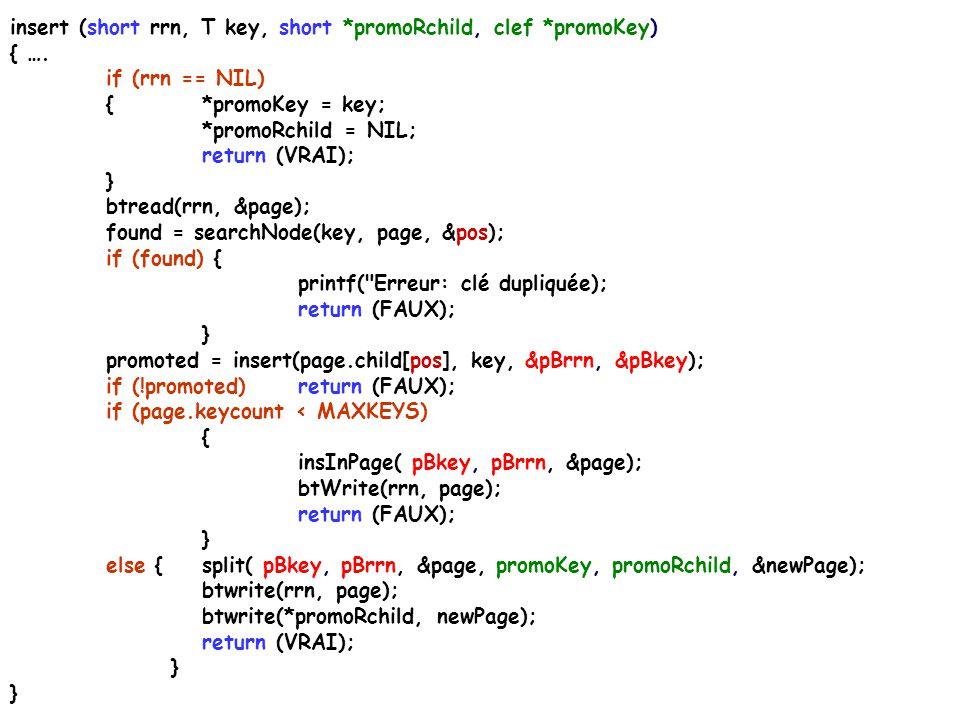 insert (short rrn, T key, short *promoRchild, clef *promoKey) { ….