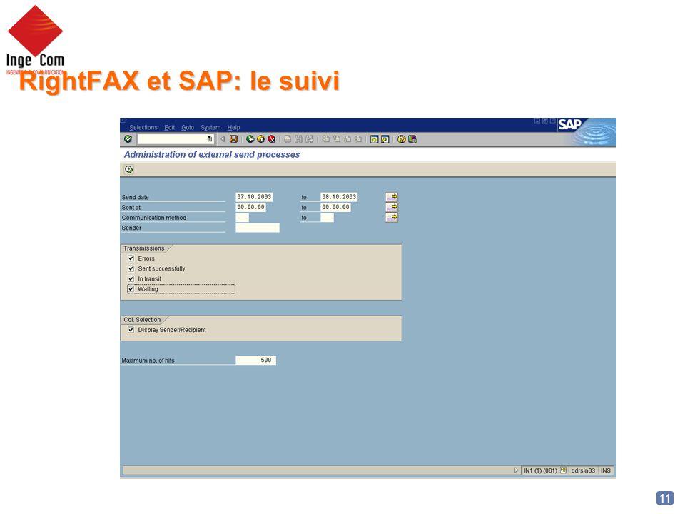 11 RightFAX et SAP: le suivi