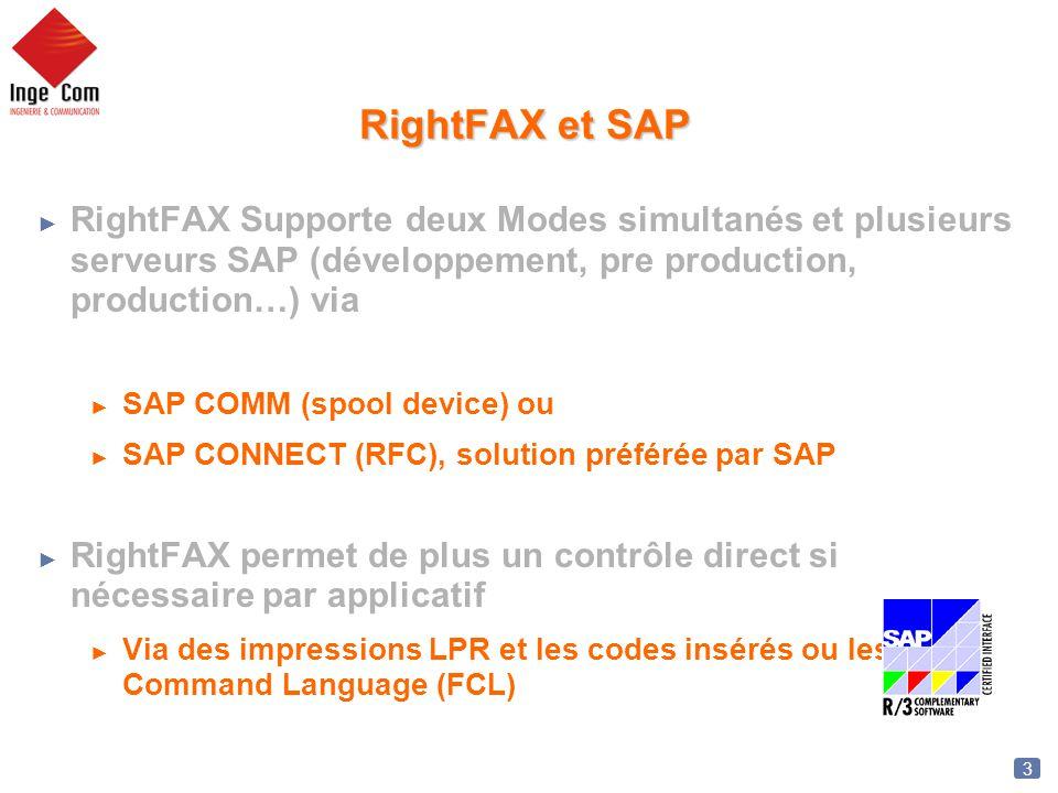 3 RightFAX et SAP RightFAX Supporte deux Modes simultanés et plusieurs serveurs SAP (développement, pre production, production…) via SAP COMM (spool d