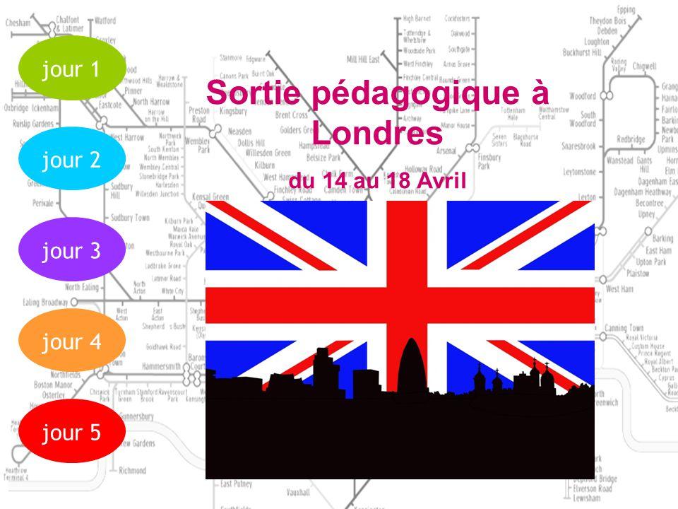 jour 1 jour 2jour 3jour 4jour 5 Départ du Lycée Mont Héry 1 5h15 du matin le 14 avril Visite de la tour de Londres Répartition des élèves dans les familles Traversée maritime Calais-Douvres Mont Héry 1 Arrêt de bus