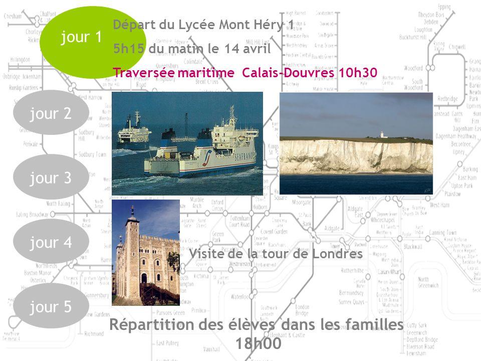 jour 1 jour 2jour 3jour 4jour 5 Départ du Lycée Mont Héry 1 5h15 du matin le 14 avril Traversée maritime Calais-Douvres 10h30 Visite de la tour de Londres Répartition des élèves dans les familles 18h00