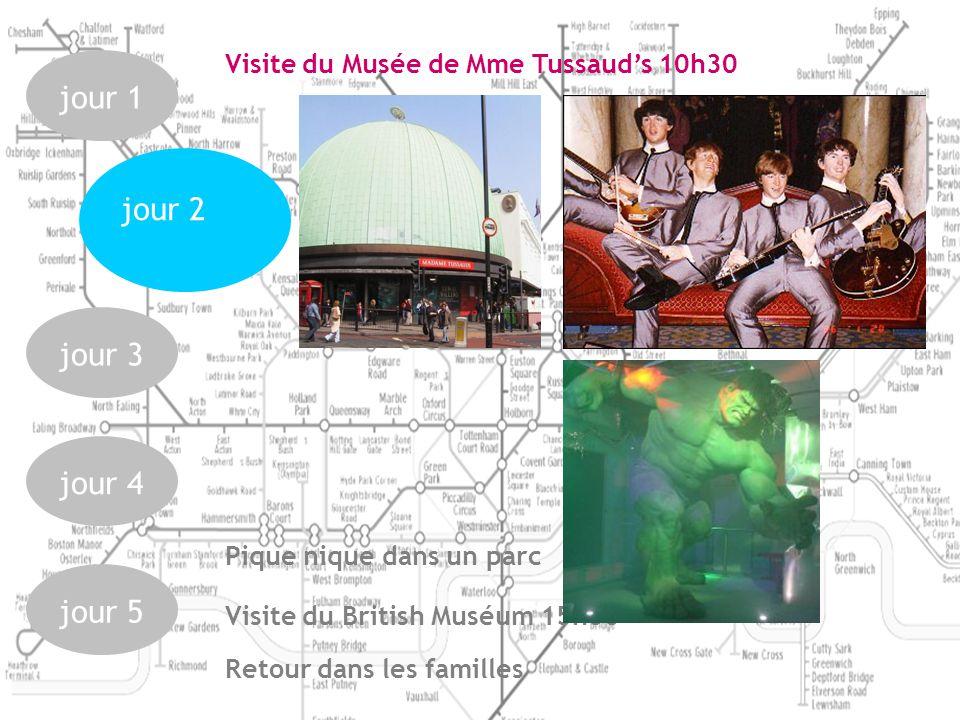 jour 1jour 3jour 4jour 5 jour 2 Visite du Musée de Mme Tussauds 10h30 Pique nique dans un parc Visite du British Muséum 15h00 Retour dans les familles
