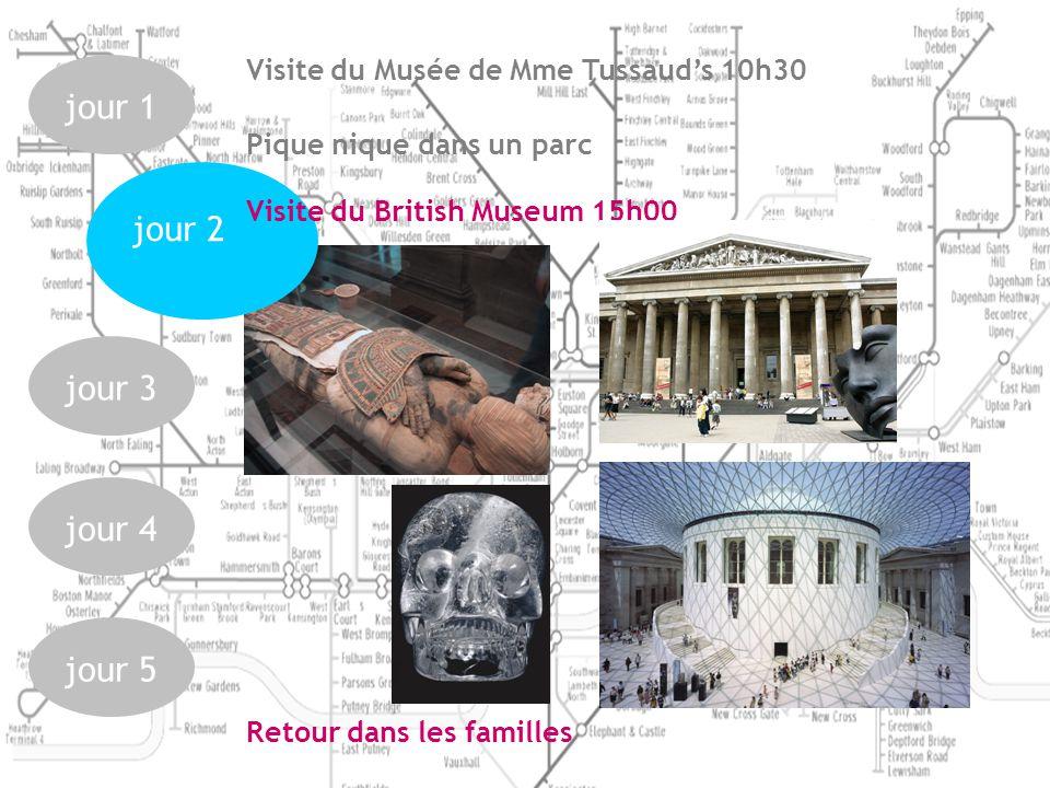jour 1jour 3jour 4jour 5 jour 2 Visite du Musée de Mme Tussauds 10h30 Pique nique dans un parc Visite du British Museum 15h00 Retour dans les familles