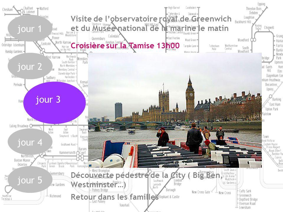 jour 1 jour 2 jour 4 jour 5 jour 3 Découverte pédestre de la City ( Big Ben, Westminster…) Croisière sur la Tamise 13h00 Visite de lobservatoire royal de Greenwich et du Musée national de la marine le matin Retour dans les familles