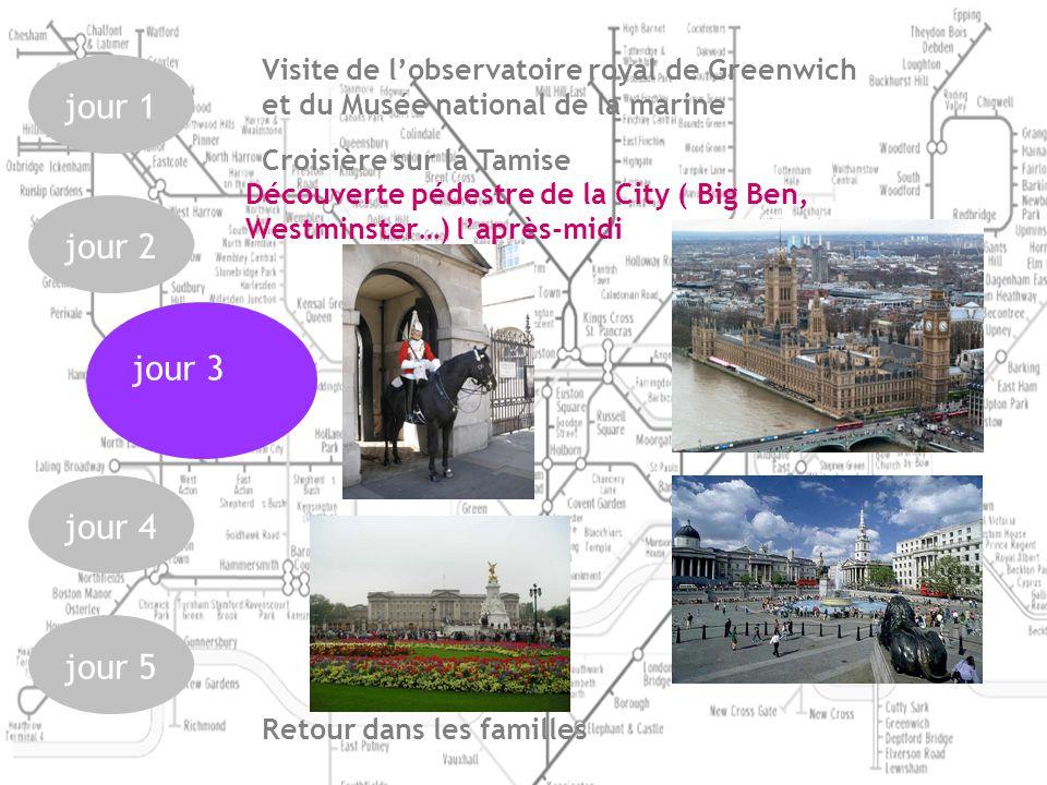jour 1jour 2jour 4jour 5 Découverte pédestre de la City ( Big Ben, Westminster…) laprès-midi jour 3 Croisière sur la Tamise Visite de lobservatoire royal de Greenwich et du Musée national de la marine Retour dans les familles