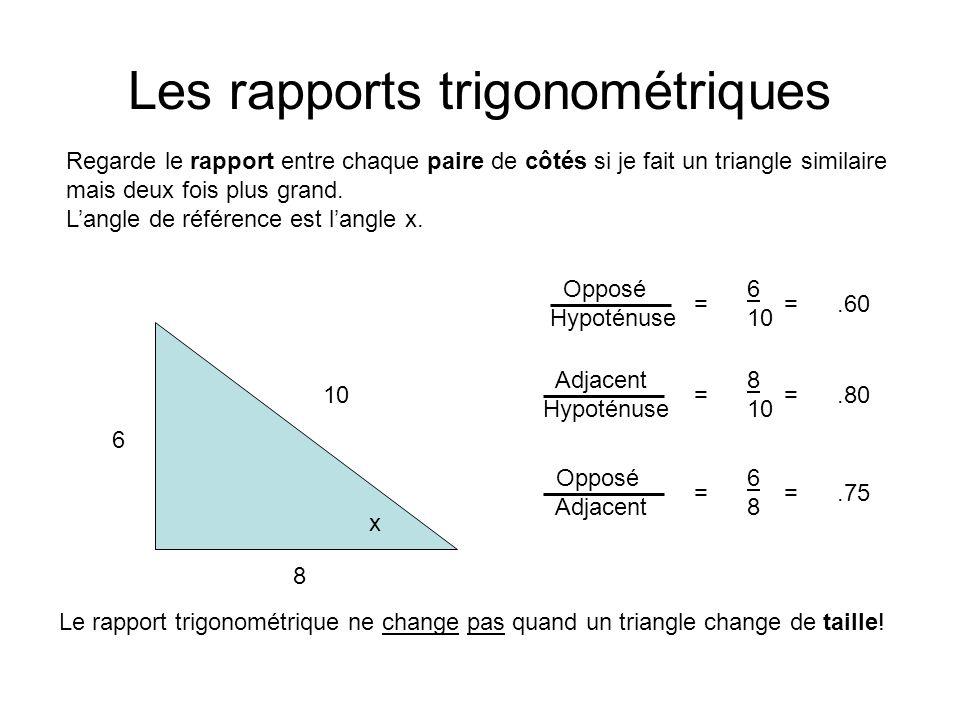 Les rapports trigonométriques Regarde le rapport entre chaque paire de côtés si je fait un triangle similaire mais deux fois plus grand. Langle de réf