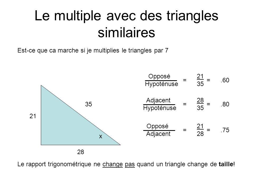 Le multiple avec des triangles similaires Est-ce que ca marche si je multiplies le triangles par 7 Opposé Hypoténuse = 21 35 =.60 Adjacent Hypoténuse