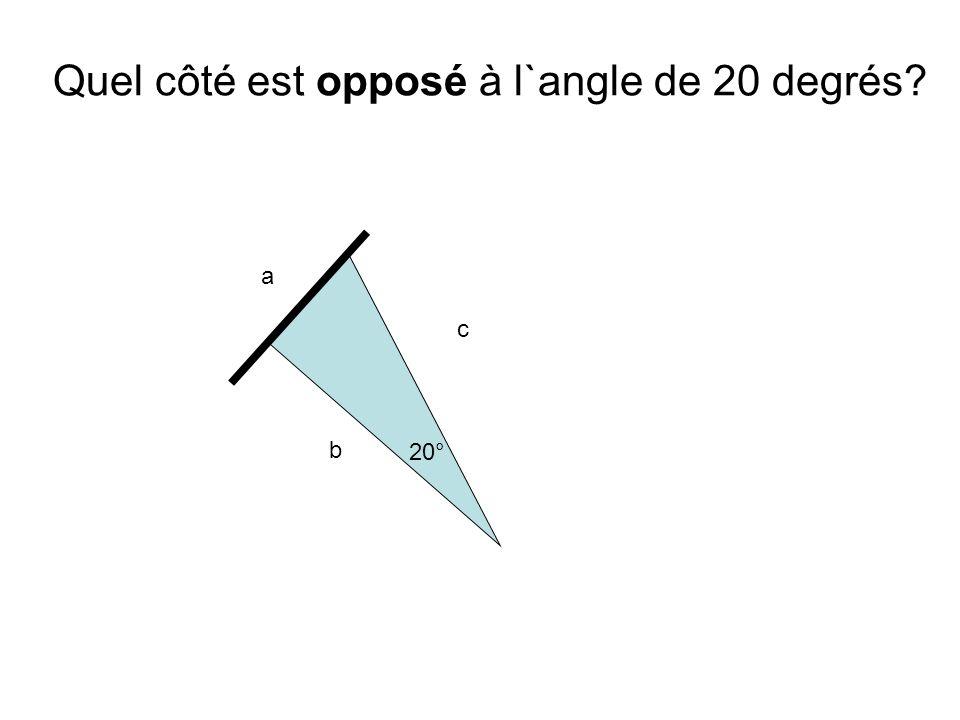 a b c 20° Quel côté est opposé à l`angle de 20 degrés?
