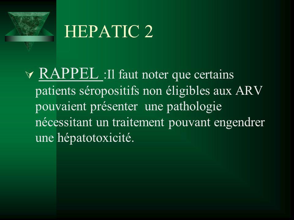 HEPATIC 2 RAPPEL :Il faut noter que certains patients séropositifs non éligibles aux ARV pouvaient présenter une pathologie nécessitant un traitement