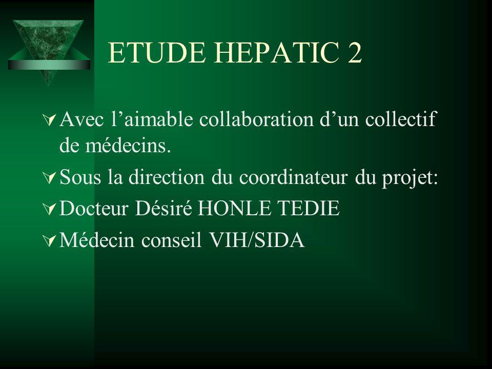 ETUDE HEPATIC 2 Avec laimable collaboration dun collectif de médecins. Sous la direction du coordinateur du projet: Docteur Désiré HONLE TEDIE Médecin