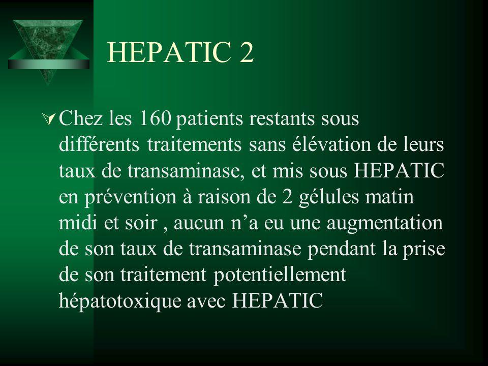 HEPATIC 2 Chez les 160 patients restants sous différents traitements sans élévation de leurs taux de transaminase, et mis sous HEPATIC en prévention à