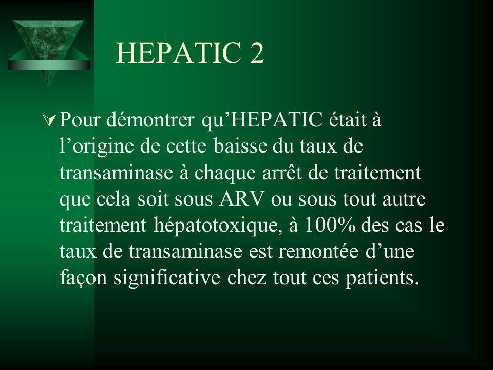HEPATIC 2 Pour démontrer quHEPATIC était à lorigine de cette baisse du taux de transaminase à chaque arrêt de traitement que cela soit sous ARV ou sou