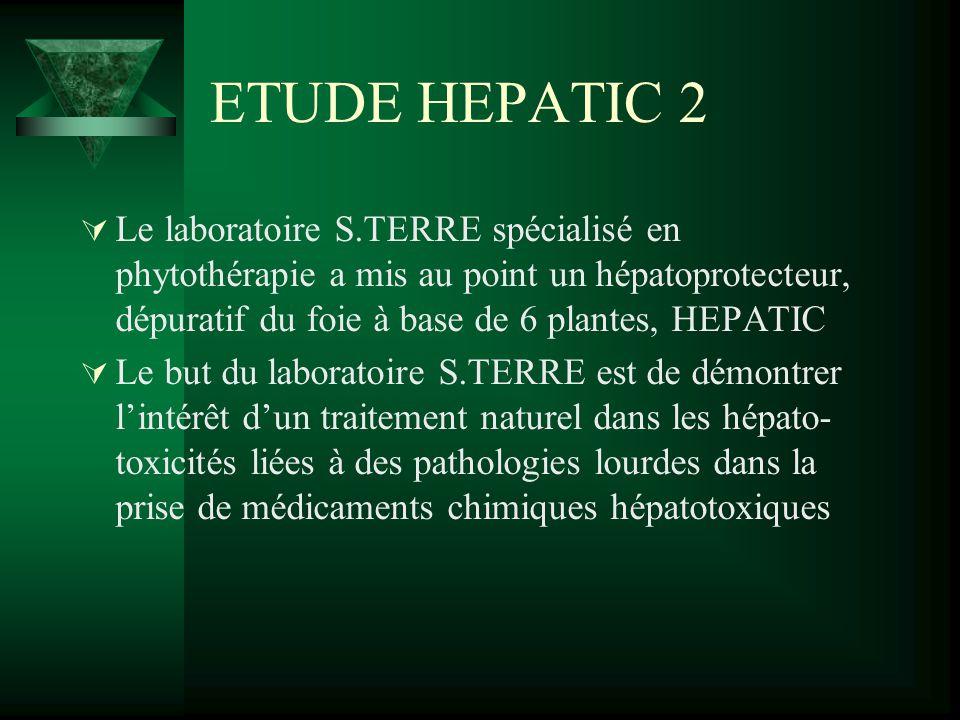 ETUDE HEPATIC 2 Le laboratoire S.TERRE spécialisé en phytothérapie a mis au point un hépatoprotecteur, dépuratif du foie à base de 6 plantes, HEPATIC