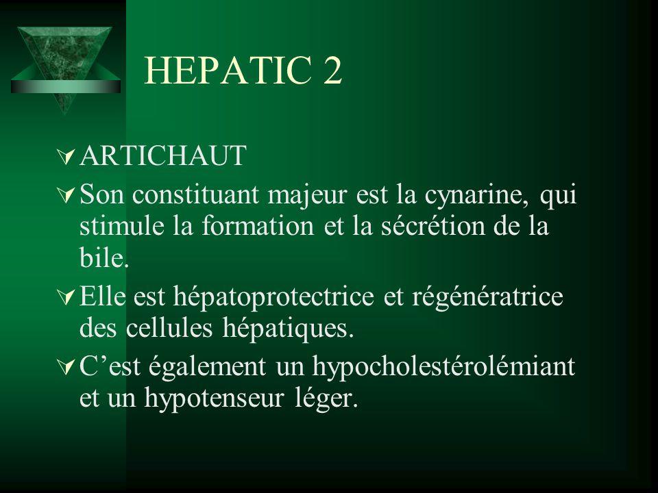 HEPATIC 2 ARTICHAUT Son constituant majeur est la cynarine, qui stimule la formation et la sécrétion de la bile. Elle est hépatoprotectrice et régénér