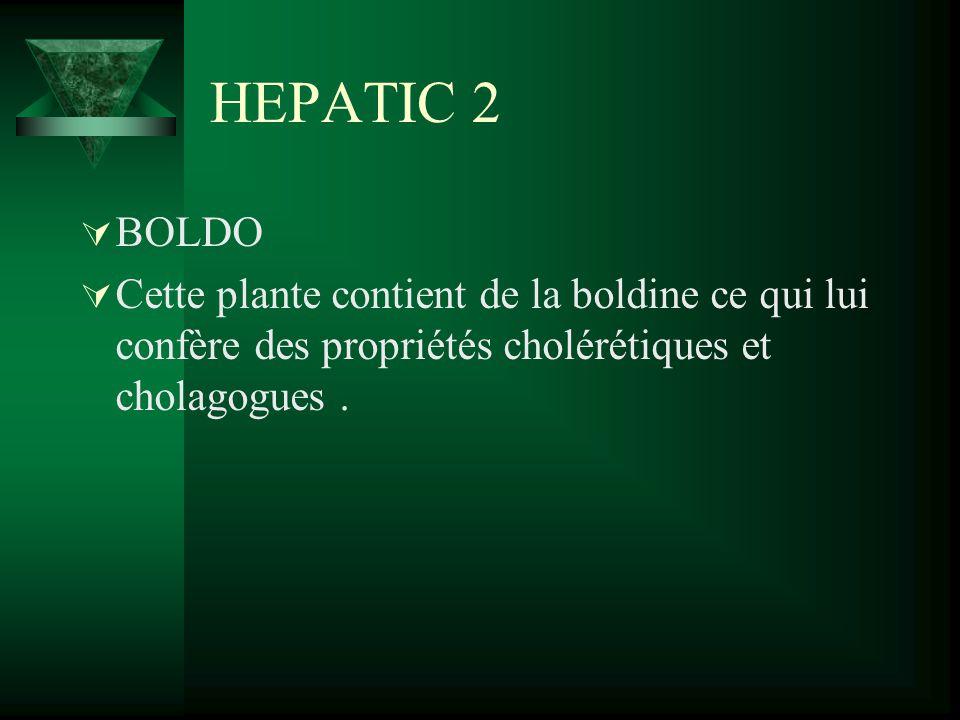 HEPATIC 2 BOLDO Cette plante contient de la boldine ce qui lui confère des propriétés cholérétiques et cholagogues.