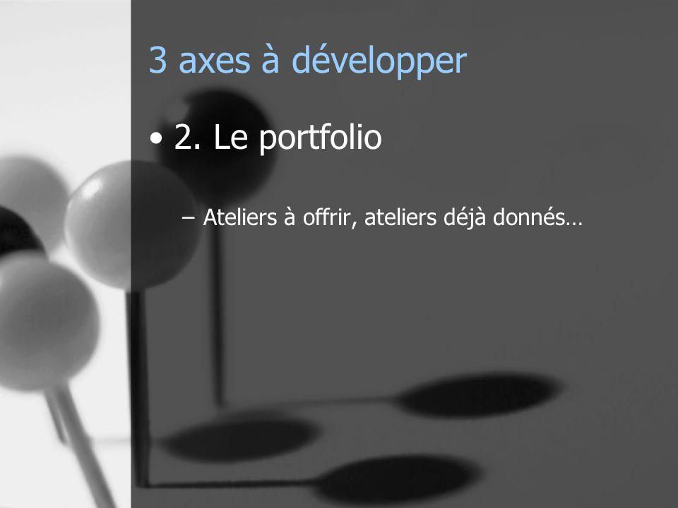 3 axes à développer 2. Le portfolio –Ateliers à offrir, ateliers déjà donnés…