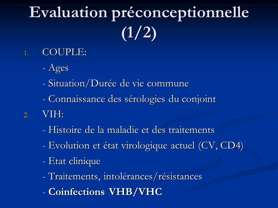 Evaluation préconceptionnelle (1/2) 1. COUPLE: - Ages - Situation/Durée de vie commune - Connaissance des sérologies du conjoint 2. VIH: - Histoire de