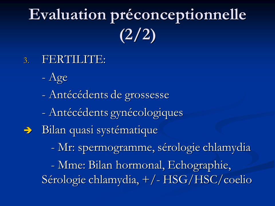 Evaluation préconceptionnelle (2/2) 3.