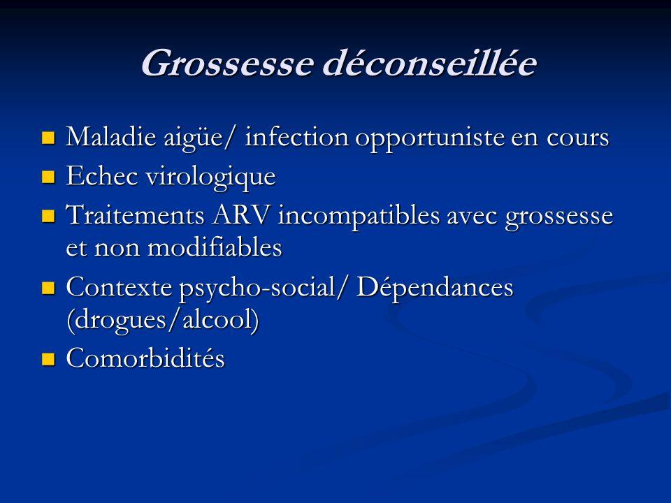 Grossesse déconseillée Maladie aigüe/ infection opportuniste en cours Maladie aigüe/ infection opportuniste en cours Echec virologique Echec virologiq