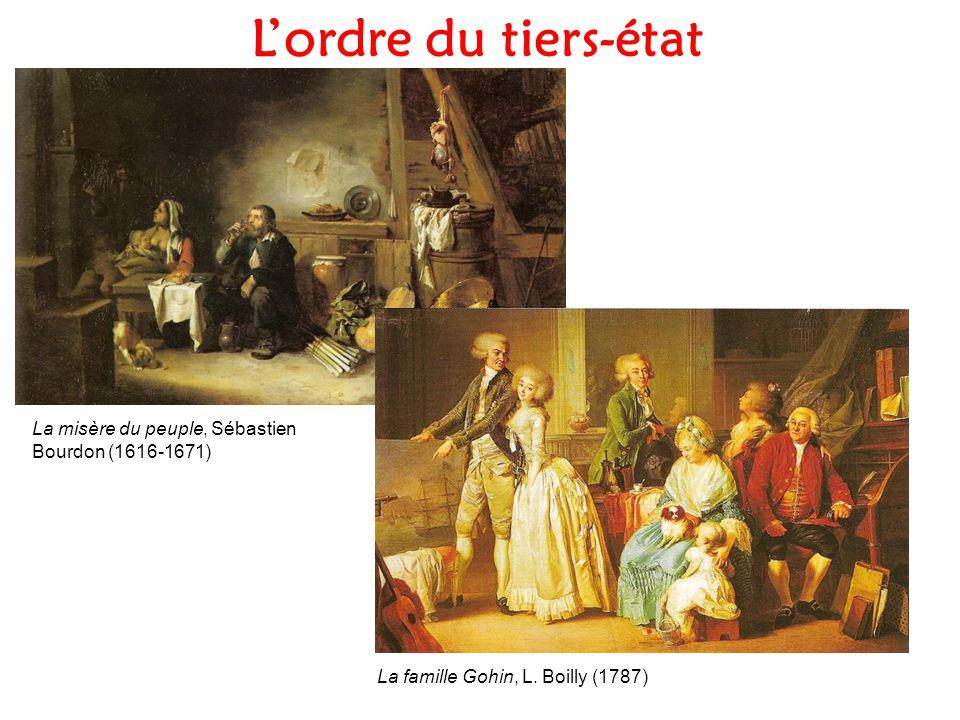 Lordre du tiers-état La misère du peuple, Sébastien Bourdon (1616-1671) La famille Gohin, L. Boilly (1787)