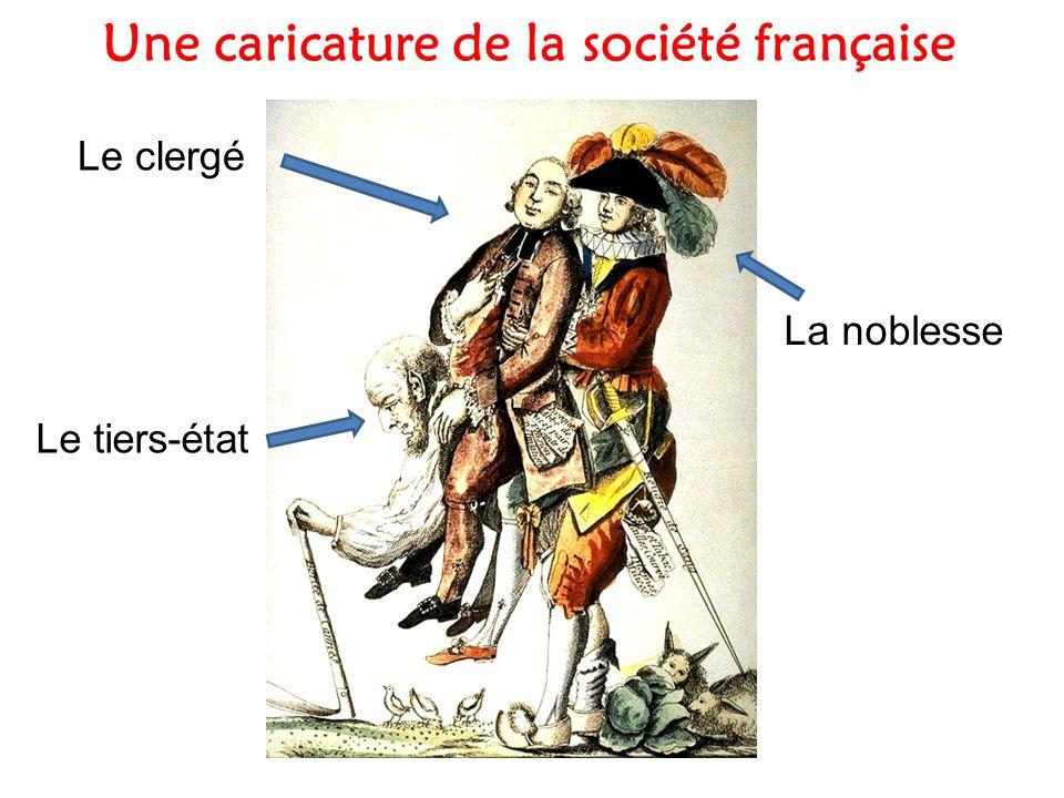 Une caricature de la société française La noblesse Le clergé Le tiers-état
