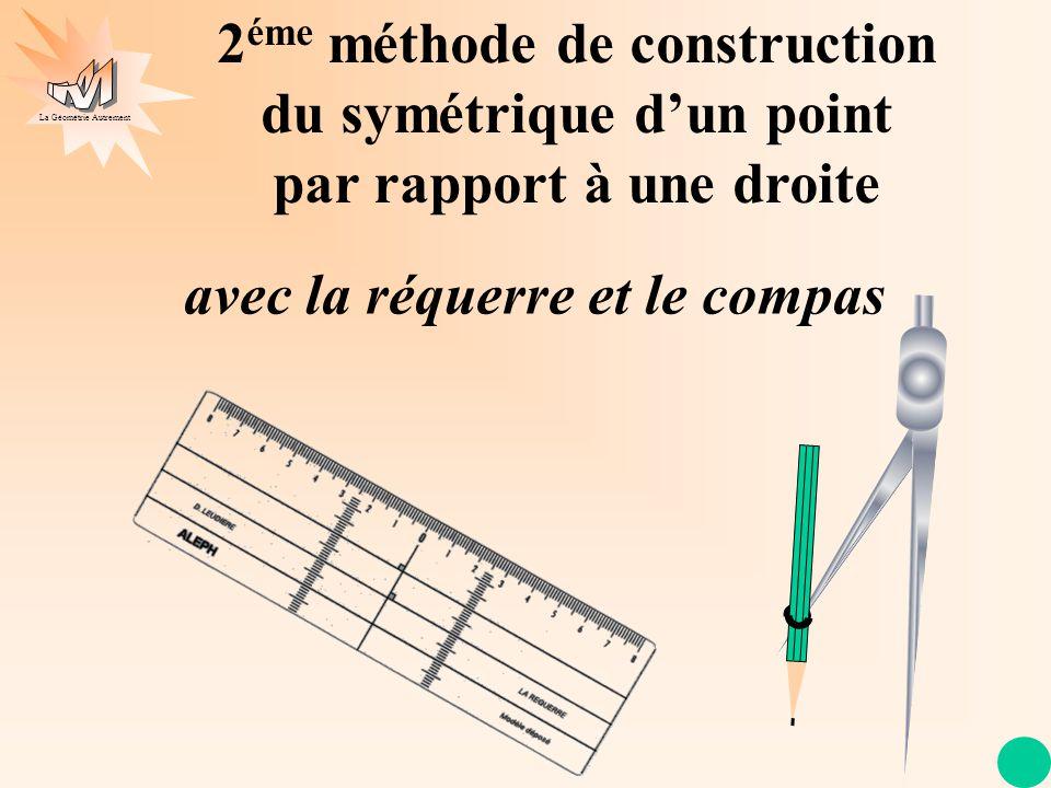 La Géométrie Autrement (d) 2 éme méthode de construction du symétrique dun point par rapport à une droite Je trace la perpendiculaire à (d) qui passe par I, I