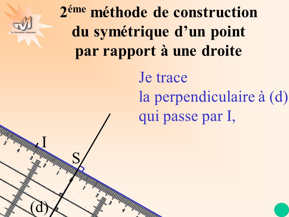 La Géométrie Autrement (d) 2 éme méthode de construction du symétrique dun point par rapport à une droite Je trace la perpendiculaire à (d) qui passe par I, I S
