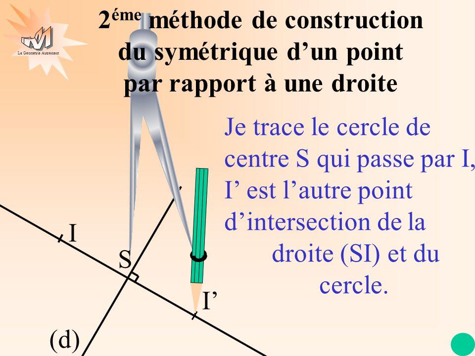 La Géométrie Autrement 3 éme méthode Construction du symétrique dun point par rapport à une droite au compas