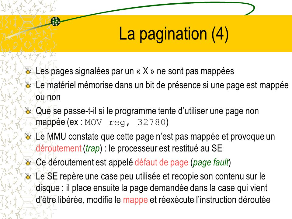 La pagination (3) Ex : MOV reg,0 (lecture de la valeur contenu à ladresse 0) –Ladresse virtuelle 0 est envoyée au MMU –Ce dernier constate que cette adresse virtuelle se situe à la page 0 (adresses de 0 à 4095) qui appartient à la case 2 (8192 à 12387) –Le MMU transforme ladresse en 8192 et place cette valeur sur le bus –La carte mémoire ne connaît pas lexistence du MMU, elle reçoit simplement une demande de lecture de ladresse 8192 Le MMU a donc mappé les adresses virtuelles comprises entre 0 et 4096 sur les adresses physiques comprises entre 8192 à 12387 De la même manière ladresse virtuelle 8192 est transformée en 24576 et 20500 correspond à ladresse physique 12308 Ce mappage au moyen du MMU des 16 pages virtuelles sur nimporte laquelle des 8 cases ne résout pas le problème soulevé par le fait que lespace dadressage virtuel est plus grand que la mémoire physique