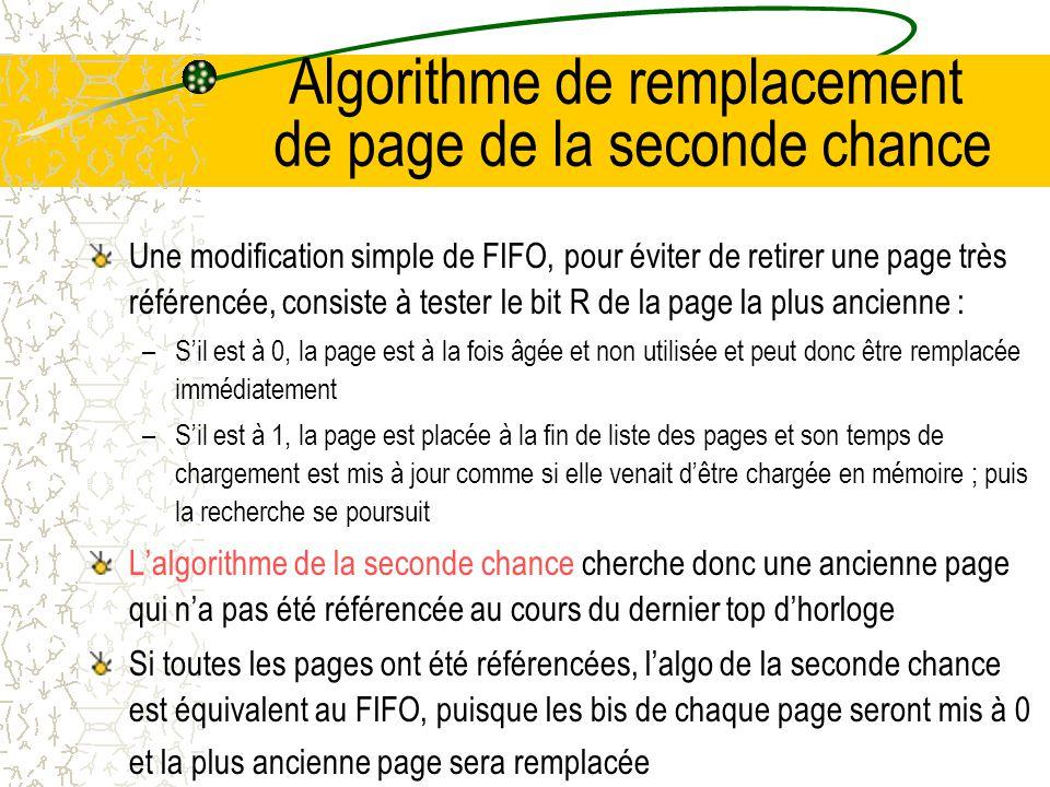 Algorithme de remplacement de page premier entré, premier sorti Un deuxième algo qui requiert peu de temps processeur est lalgorithme du premier entré, premier sorti ou FIFO ( First In First Out ) Le SE mémorise une liste de toutes les pages en mémoire, la première page de cette liste étant la plus ancienne et la dernière la plus récente ; lorsquil se produit un défaut de page, on retire la première page de la liste et on place la nouvelle page à la fin de la liste Cet algorithme fournit de piètre performance Pour lillustrer, considérez un épicier qui possède k étagères chacune pouvant contenir un produit différent ; un fabriquant crée un nouveau produit qui a tellement de succès que lépicier doit abandonner un ancien produit pour le mettre en étalage.