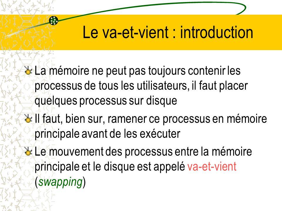 Le va-et-vient : introduction La mémoire ne peut pas toujours contenir les processus de tous les utilisateurs, il faut placer quelques processus sur disque Il faut, bien sur, ramener ce processus en mémoire principale avant de les exécuter Le mouvement des processus entre la mémoire principale et le disque est appelé va-et-vient ( swapping )