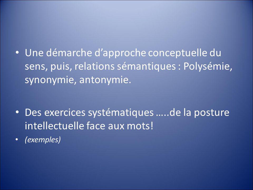Une démarche dapproche conceptuelle du sens, puis, relations sémantiques : Polysémie, synonymie, antonymie.