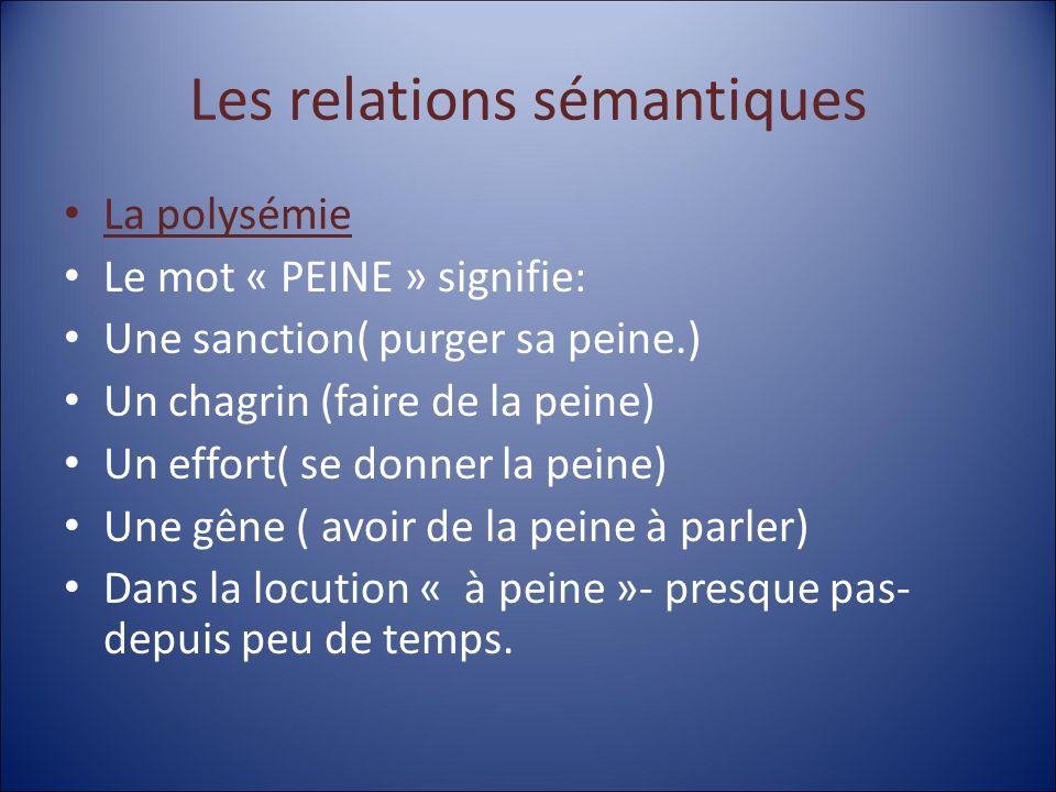 Les relations sémantiques La polysémie Le mot « PEINE » signifie: Une sanction( purger sa peine.) Un chagrin (faire de la peine) Un effort( se donner la peine) Une gêne ( avoir de la peine à parler) Dans la locution « à peine »- presque pas- depuis peu de temps.