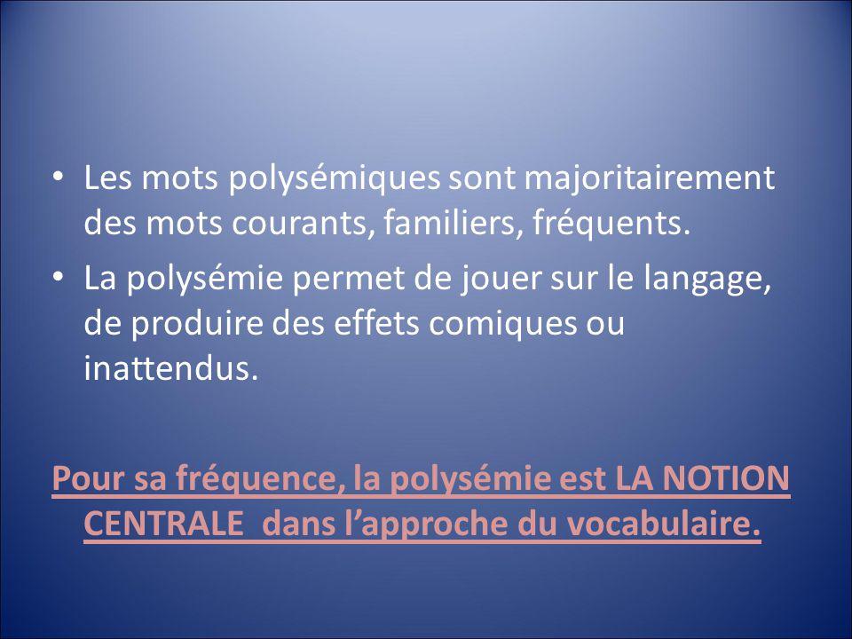 Les mots polysémiques sont majoritairement des mots courants, familiers, fréquents.