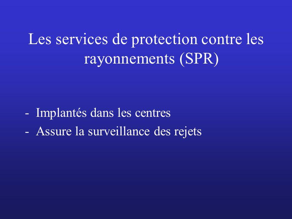 Les services de protection contre les rayonnements (SPR) -Implantés dans les centres -Assure la surveillance des rejets