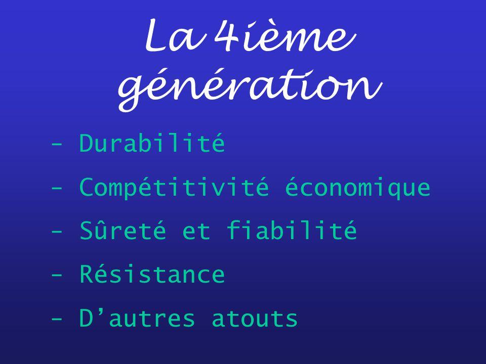 La 4ième génération - Durabilité - Compétitivité économique - Sûreté et fiabilité - Résistance - Dautres atouts