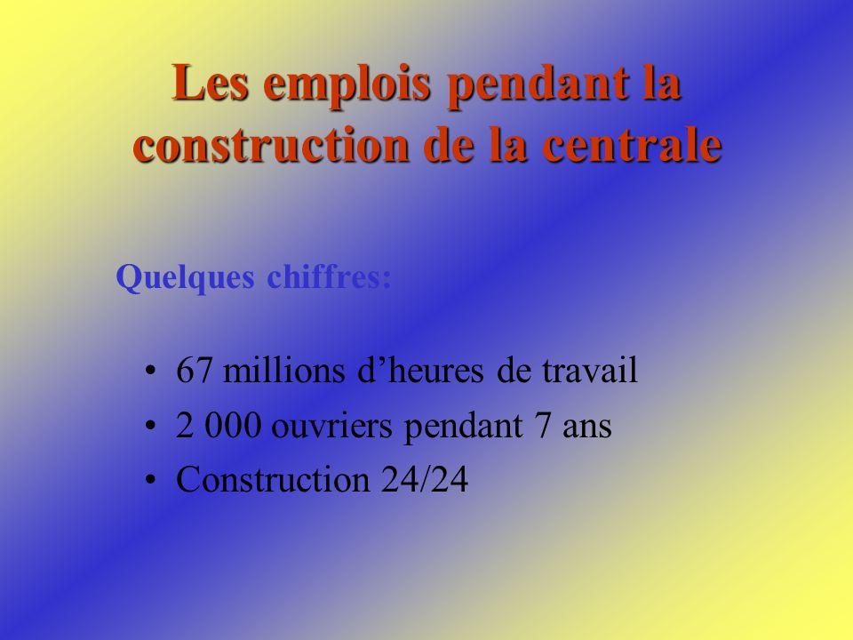 Les emplois pendant la construction de la centrale 67 millions dheures de travail 2 000 ouvriers pendant 7 ans Construction 24/24 Quelques chiffres: