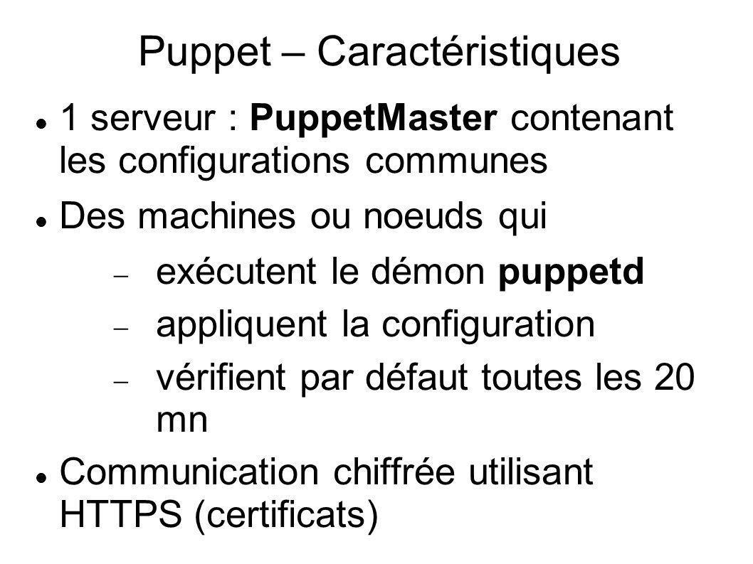 Puppet – Caractéristiques 1 serveur : PuppetMaster contenant les configurations communes Des machines ou noeuds qui exécutent le démon puppetd appliqu