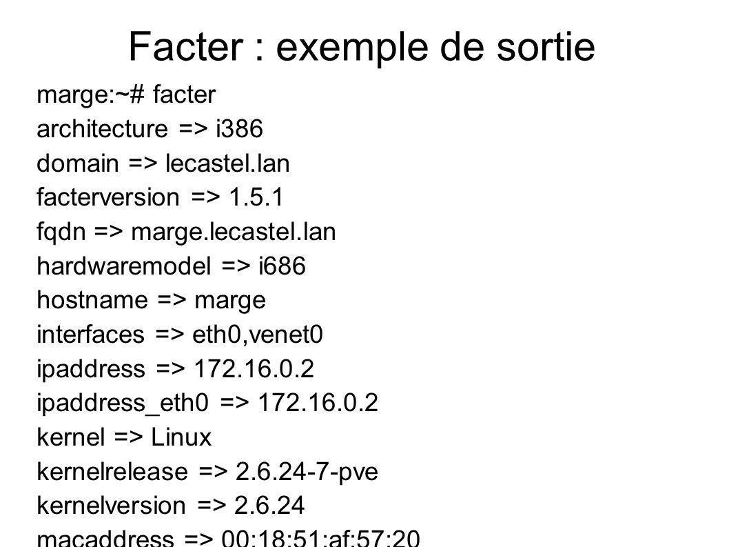 Facter : exemple de sortie marge:~# facter architecture => i386 domain => lecastel.lan facterversion => 1.5.1 fqdn => marge.lecastel.lan hardwaremodel