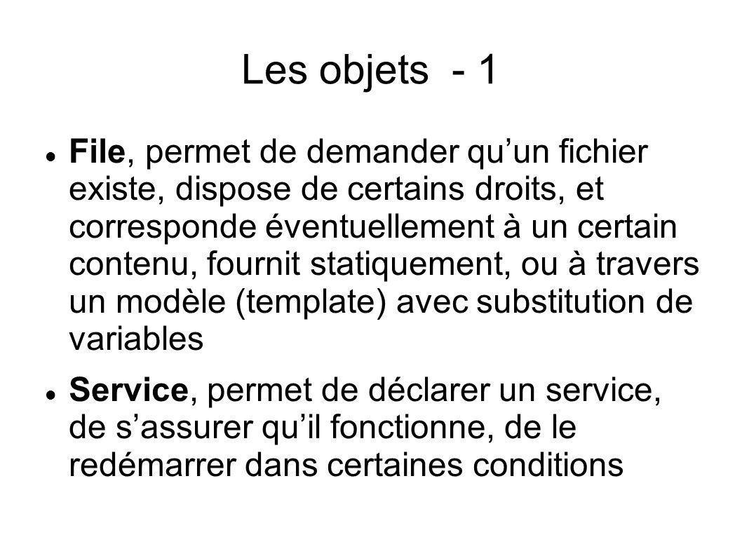 Les objets - 1 File, permet de demander quun fichier existe, dispose de certains droits, et corresponde éventuellement à un certain contenu, fournit s