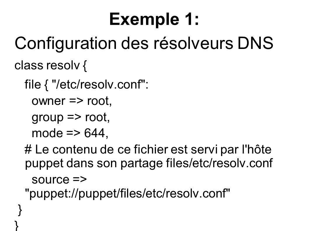 Exemple 1: Configuration des résolveurs DNS class resolv { file {